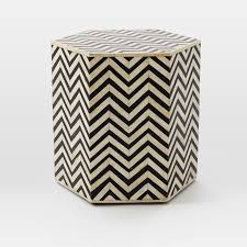 bone inlay side table bone inlaid faceted side table west elm home furniture