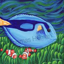 finding dory blue tang fish painting tropical fish painting