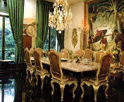 formal green curtain with black ceramic floor for victorian dining