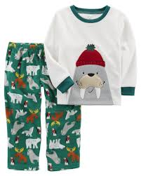 2 walrus fleece pjs carters