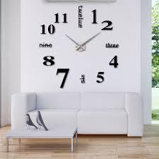 modern diy wall clock large watch decor stickers set mirror effect