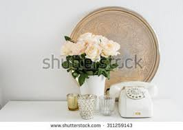 vintage home interior pictures bouquet white flowers vase candles on stock photo 261743645