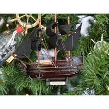 wooden caribbean pirate ship model tree ornament