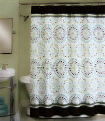 Green And Brown Shower Curtains Peri Shower Curtain Fabric Tahiti Tile Blue Brown
