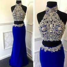 two piece sheath high neck royal blue prom dress with beading open