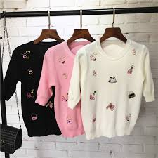 wholesale sweaters 2017 summer style slim sweaters small items embroidery