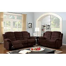 Chenille Reclining Sofa by Furniture Of America Walton Chenille Reclining Loveseat