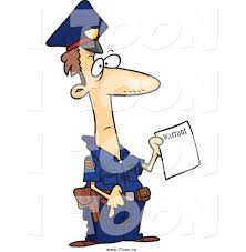 royalty free cartoon of a worried police officer holding a warrant