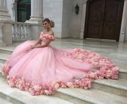 pink wedding dresses pink tulle flower gowns wedding dress the shoulder