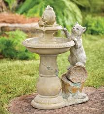 Cat Garden Decor Curious Cat Outdoor Fountain Wind U0026 Weather