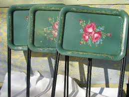 Folding Tv Tray Table Vintage Roses On Green Tole Litho Print Metal Folding Tv Tray Tables