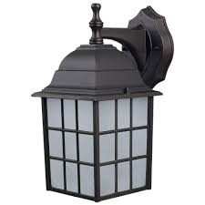 Outdoor Sconces Home Depot Canarm Colton 1 Light Bronze Outdoor Wall Lantern With Frosted