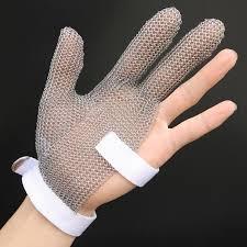 gant anti coupure cuisine gant à 3 doigts anti coupure en acier inoxydable 304l et fil