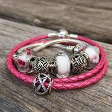 pandora leather bracelet pink images Pandora honeysuckle pink leather bracelet marthnickbeads jpg