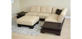 White Italian Leather Sectional Sofa 753 Beige Italian Leather Sectional Sofa With End Tables