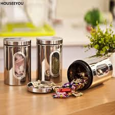 kitchen canisters stainless steel stainless steel food storage bottles jars glass window kitchen