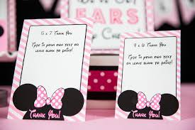 minnie mouse thank you cards minnie mouse birthday party printables and invitation