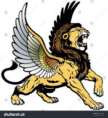 roaring winged lion mythological creature image stock vector