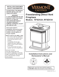 Fireplace Installation Instructions by Vermont Casting Rfsdv24 User Manual 36 Pages