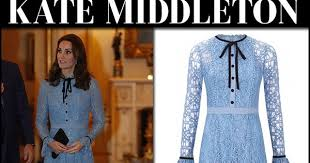 kate middleton in blue lace midi dress and black pumps at