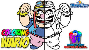 wario warioware nintendo super mario coloring pages for kids