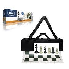 premium tournament chess set with deluxe black canvas bag super
