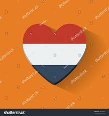 Dutch Flag Emoji Heartshaped Icon National Flag Netherlands Flat Stock Vector