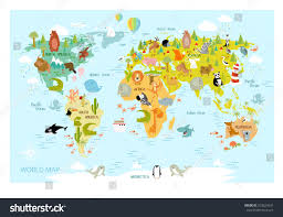 Europe Asia Map Vector Map World Cartoon Animals Kids Stock Vektorgrafik 552624331