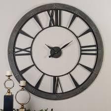 Large Wall Clock | ronan rustic bronze large wall clock uttermost wall mounted clock