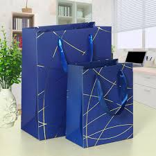 present bags 25x18x8 5cm lines hot sting laminated paper gift bags with ribbon