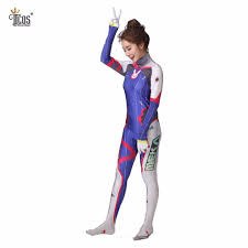 d va cosplay costume dva suit spandex lycra zentai bodysuit woman
