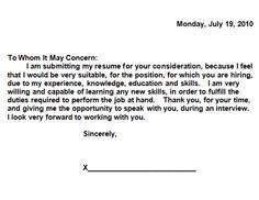 Simple Cover Letter Examples For Resume by Cover Letter To Job Recruiter