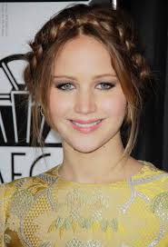 hairstyles for boat neckline jennifer lawrence wearing her hair in a braided up style