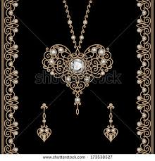 vintage gold jewelry set pendant earrings stock vector 173538527