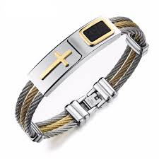 mens bracelet titanium images Cross shaped titanium steel men 39 s bracelet sophgent jpg