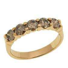 mothers day rings with birthstones 10k yellow gold 1ctw 5 chagne diamond band ring 8674296