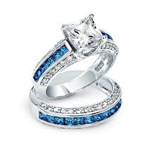 wedding ring sets princess cut cz 3 sided engagement wedding ring set 925 silver