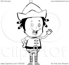 cartoon clipart of a black and white christmas elf waving