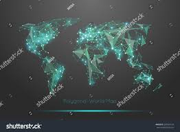 Planet Map Polygonal World Map Global Travel Geography Stock Vector 287667194