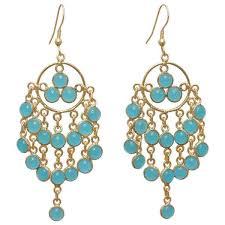 Chandelier Earrings India Handmade Gold Overlay Aqua Chalcedony Chandelier Earrings India