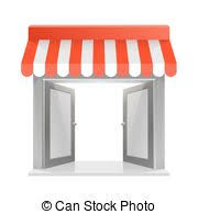Striped Awning Eps Vectors Of Canopy Awning Striped Store Element Design Canopy