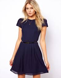 asos skater dress with short sleeves and belt in blue lyst