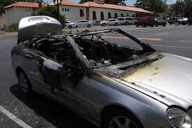 mercedes of san antonio mercedes convertible engulfed in flames outside san antonio