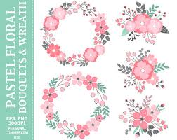 wedding flowers clipart buy 2 get 1 free digital pastel wreath bouquets clip