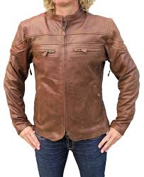 motorcycle style leather jacket womens retro brown cafe u0027 style scooter motorcycle jacket item