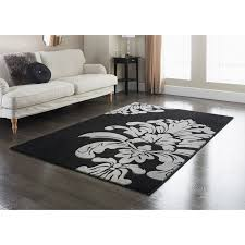 Textured Rugs Damask Rug Black 110 X 160cm Rugs Textured Rugs