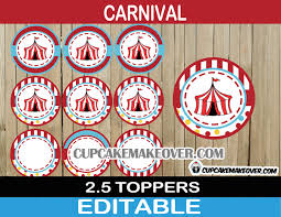 circus cake toppers big top circus party package instant cupcakemakeover