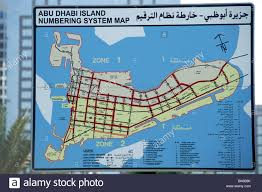 Map Of Abu Dhabi Abu Dhabi Island Numbering System Map Stock Photo Royalty Free