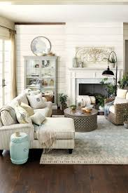 simple farmhouse living room decorating with blue and white living