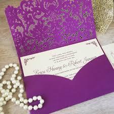 Purple Wedding Invitations Erica Purple Laser Cut Pocket Wedding Invitation Champagne